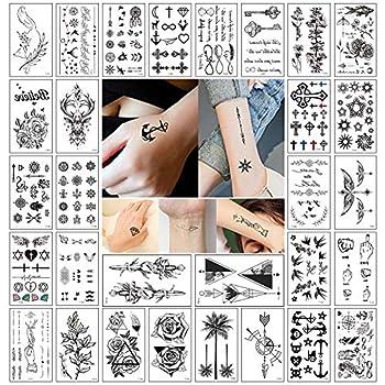 Small Temporary Tattoos Stickers Cool Realistic Fake Tattoos Waterproof Black Tiny Temporary Tattoo for Women Kids Men Body Art Tattoos Hand Neck Wrist Arm Temp Tattoo  30 Sheets