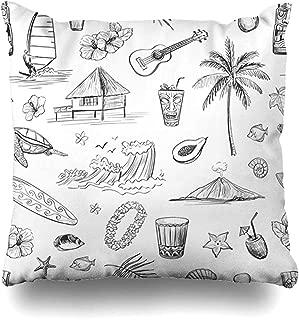 Throw Pillow Cover Mask Bar Hawaii Sketches Tiki Holidays Exotic Sketch Hut Beach Island Hawaiian Design Holiday Decorative Case Cushion Home Decor Covers 18 x 18 Inch