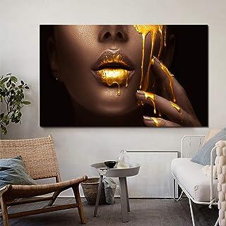 Imprimé Sur Toile,Impression De Toile D'Art Mural Peintures Pour Décoration D'Or - Peinture Sur Visage Femme - Art Moderne...