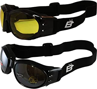 Two Pairs Birdz Eagle Red Baron Style Motorcycle Padded Airsoft Goggles Yellow & Driving Mirror Lens for Day and Night Rid...