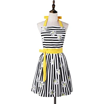 Lovely Comfortable Claccic Black Stripe and Fashion Daisy Skirt Kitchen Women Apron for Ladies Girls Wife Daughter (Yellow)