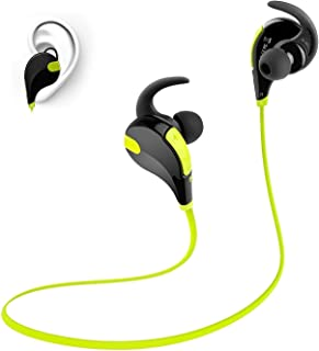 Toysdone Wireless Headphones Stereo Earbuds Wireless Sport Earphones for Running with Mic (6 Hours Play Time, Bluetooth 4.0, IPX4 Sweatproof, Secure Ear Hooks Design) Black/Green
