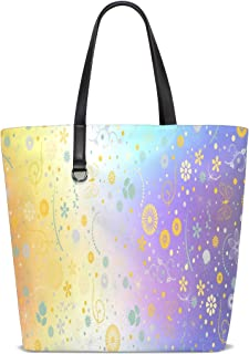 Floral And Butterfly Spring Pattern Tote Bag Purse Handbag Womens Gym Yoga Bags for Girls