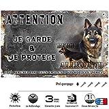 Pets-Easy.com Attention au Chien Berger Allemand Noir et feu - pré percée et vis fournies. De 30 cm à 15 cm…