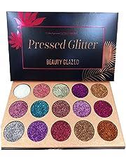 Beauty Glazed Glitter-ögonskuggspalett, 15 färger skimmer ultramienterad makeup ögonskugga puder långvarig vattentät