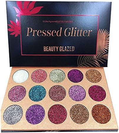 Beauty Glazed Paleta De Sombras De Ojos Profesionales - Paleta Maquillaje - Altamente Pigmentados 15 Colores Brillantes y Gitter