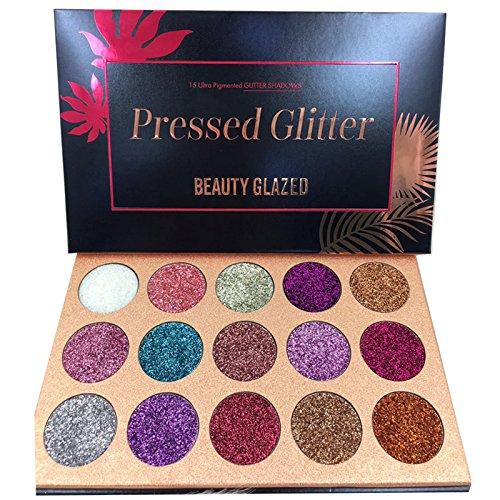 Beauty Glazed Glitzer Lidschatten Palette,15 Farben Shimmer Ultra Pigmented Makeup Lidschatten Pulver Langlebig Wasserdicht