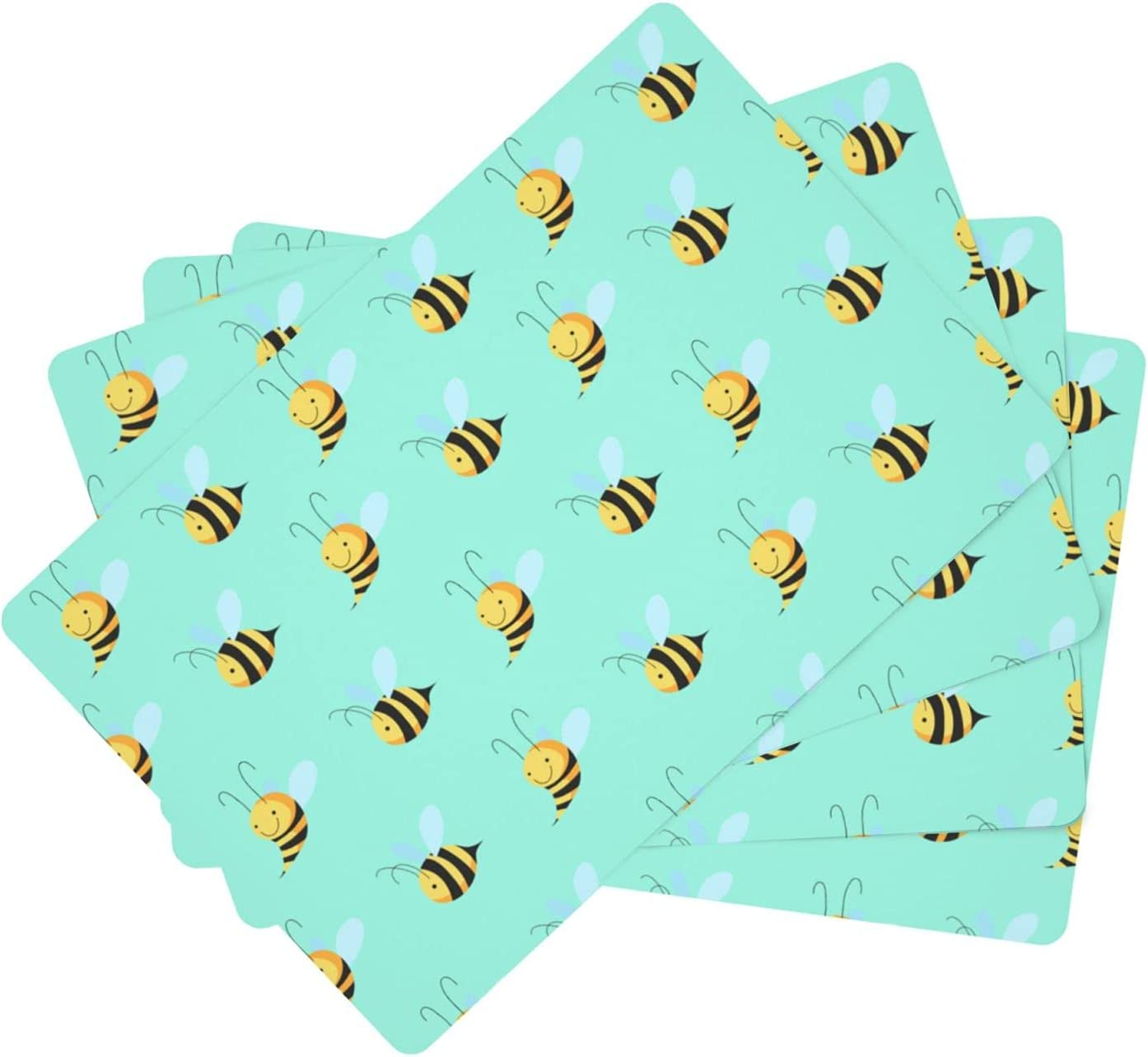 Honey bee Table Mats Washable OFFicial site Selling rankings Set 4 of F Resistant Non-Slip Heat