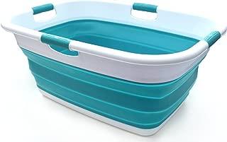 SAMMART Collapsible 4 Handled Laundry Basket - Foldable Storage Container/Organizer - Portable Washing Bin - Space Saving Hamper - Pet Bath Tub (1 pc - Rectangular, Bright Blue)
