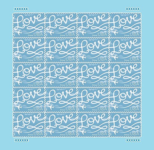 2017 Love Skywriting Wedding Sheet of 20 Forever Stamps Scott 5155