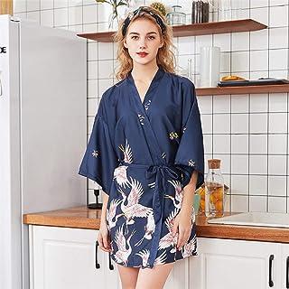 Kimono Mujer Bata Satin V-Neck Con Vestido De Noche Impresión De Pájaros Novias Vestido De Novia Vestido Azul, Soft Cosy Loungewear Y Pijama Albornoz Utilizado Para Bodas Vestidos Casuales, Pijamas