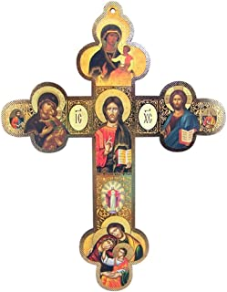 Religious Gifts by San Francis Imports, Inc Christ The Teacher with Our Lady of Kazan Wooden Orthodox Wall Cross, 12 Inch