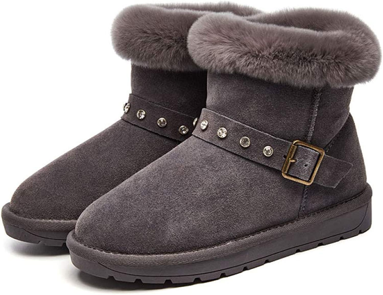 Snow Boots for Women, Fall Winter Warm Buckled Velvet Women's shoes for Outdoors Etc.