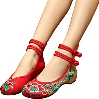 Shoes Women Embroidery Mary Jane Fabric Flats Traditional Embroidered Old Peking Flower Canvas Casual Plus Size