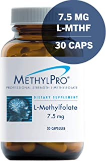 MethylPro 7.5mg L-Methylfolate 30 Capsules - No Fillers, Professional Strength 7500mcg Active Folate, 5-MTHF for Mood, Homocysteine Methylation + Immune Support, Non-GMO + Gluten-Free