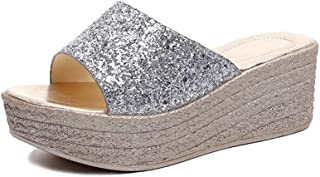 Summer Wedge Slippers Platform Women Beach Indoor&Outdoor Shoes (Color : Silver, Size : 37)