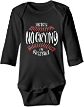 There's No Crying in Baseball Baby Boys Long Sleeve Cotton Romper Bodysuit for 6-24M Baby
