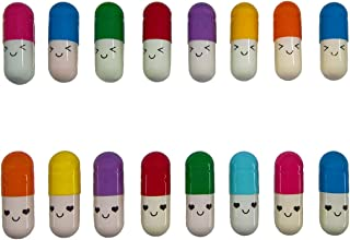 Aoyoho 100 Pcs Message in a Bottle Capsule Letter Cute Smiling Face Love Friendship Half Color Pill