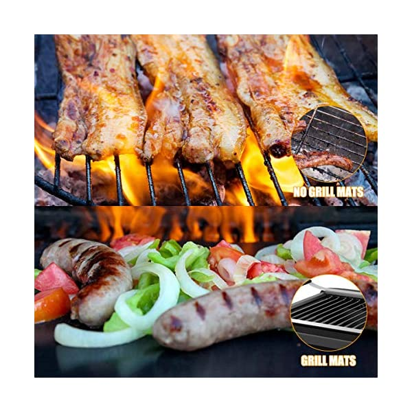 BACKTURE BBQ Grill Mat (5 pcs) 33x40 cm + 2 Brushes for Grilling and BBQ Non-Stick Grill Baking Mat Large Grill Foil… 5