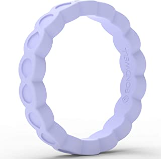 BONDWELL Silicone Wedding Ring for Women Save Your Finger & A Marriage Safe, Rubber, Durable Band for Active Athletes, Wiv...