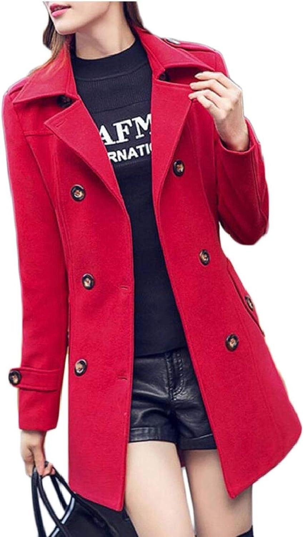 LEISHOP Women's Wool Blend Winter Double Breasted Overcoat Long Pea Coats