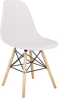 4 sillas de comedor más estables, con un marco de hierro estable en la parte inferior, aptas para restaurantes, oficinas, salas de estar, cafeterías, etc. (blanco, 4)