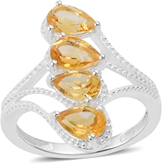 925 Sterling Silver Pear Citrine Statement Ring Jewelry