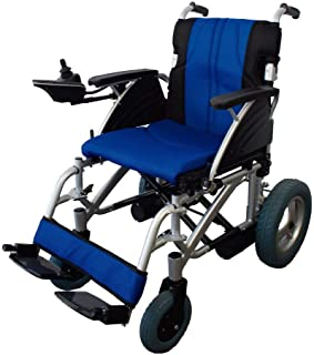 Mobiclinic, modelo Lyra, Silla de ruedas eléctrica, plegable, acero, con motor, para discapacitados, minusválidos, ancianos, ortopedica, para mayores, autonomía 20 km, 24V, color Azul y Negro