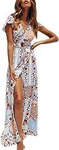 Clearance! Swiusd Womens Sexy Flowy Maxi Dresses Notch V Neck Short Sleeve Dress Retro Floral Print Long Beach Sun Dresses