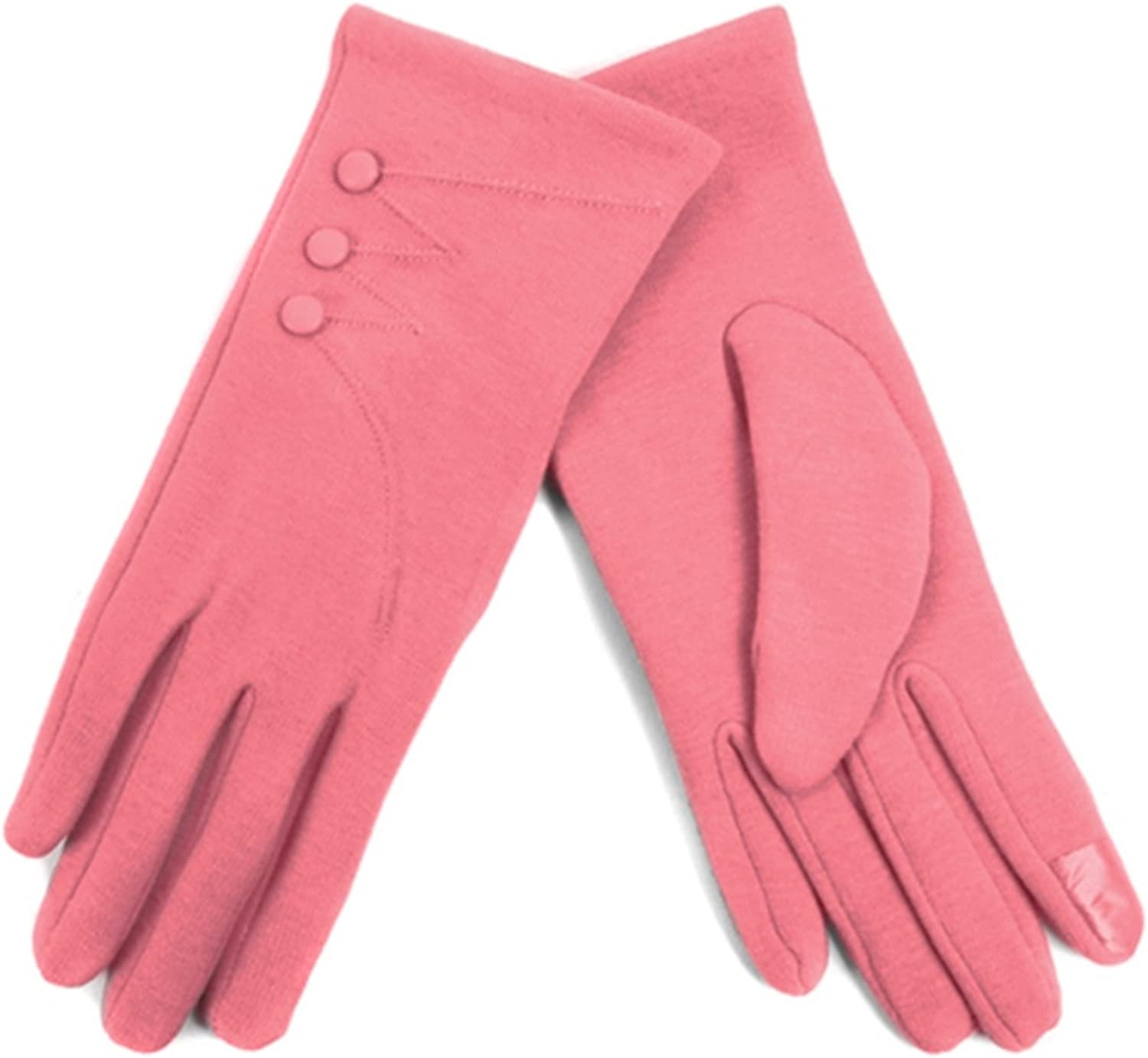 Women's Pink Stylish Touch Screen Gloves with Button Accent & Fleece Lining SM