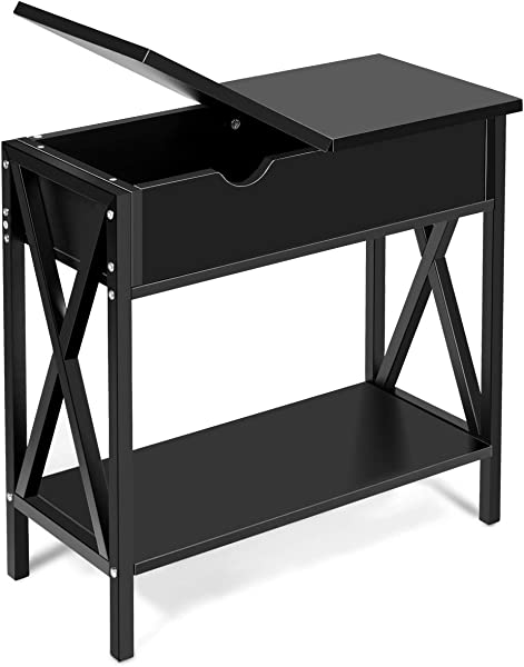Giantex Console Table W Flip Top Shelf And Hidden Hinged Storage For Entryway Hallway Living Room Office And Bedroom Multifunctional Usage Accent Corner Couch Sofa Side Table End Table Black