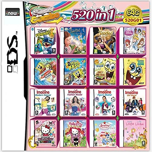 UJETML J1 520 en 1 Juego Cassette, NDS Game Pack Card DS Game Compatible para Super Combo NDS DS 2DS Nuevo 3DS XL Juego