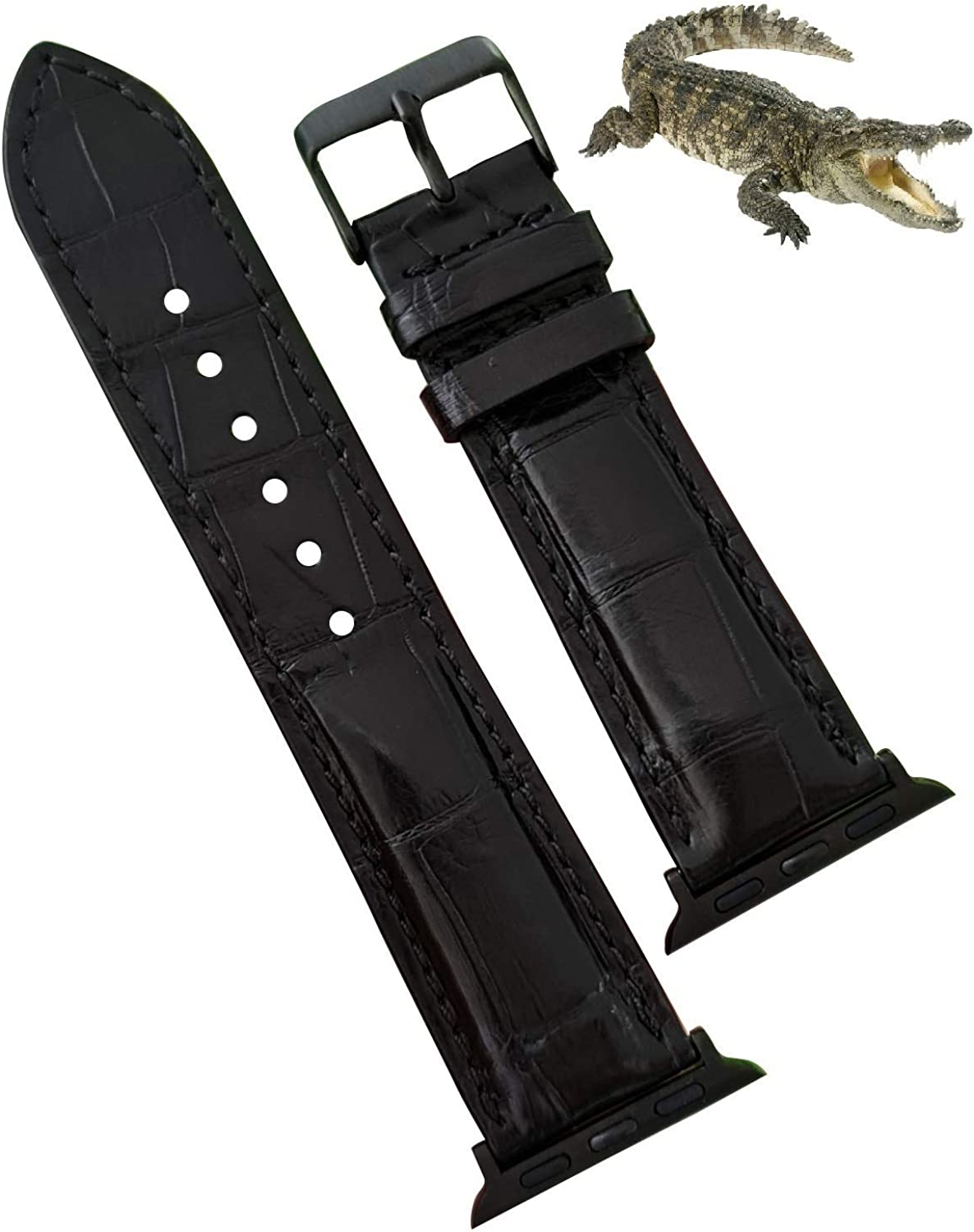 Handmade Alligator Belly Band Compatible with Apple Watch Crocodile Strap Iwatch Smart 38mm 40mm 42mm 44mm Series 6 5 4 3 2 Handmade By Vietnamese