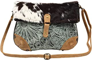 Myra Bag Macey Flap Over Upcycled Canvas & Cowhide Leather Small Crossbody Bag S-1221