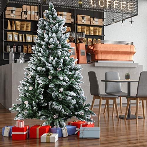 NONMON Árbol de Navidad Artificial,180cm Árbol de Abeto con 800 PVC Rama Punta Ignífuga,Pino Cubierto de Nieve,Construcción Rápida,Soporte de Metal,para Navideña Decoración Interior y Aire Libre