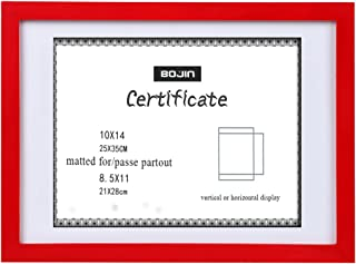 BOJIN 10x14 Picture Frames Red Matted 8.5x11 Document Wood Photo Frame Diploma and Certificate Frame for Wall Hanging