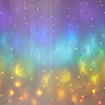 Fefelightup Rainbow Curtain Lights Fairy Lights Icicle Lights Fantasy Unicorn (Rainbow)