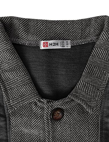 H2H Mens Two-tone Herringbone Jacket Cardigans CHARCOAL US XL/Asia 2XL (JLSK03)
