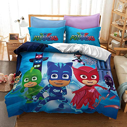 Meiju Microfiber Duvet Cover Set for Boys Girls, Cartoon Little Hero Printing Single Double King Size Kids Bedding Set Easy Care Children Quilt Covers and Pillowcases (Heros E,220x240cm)