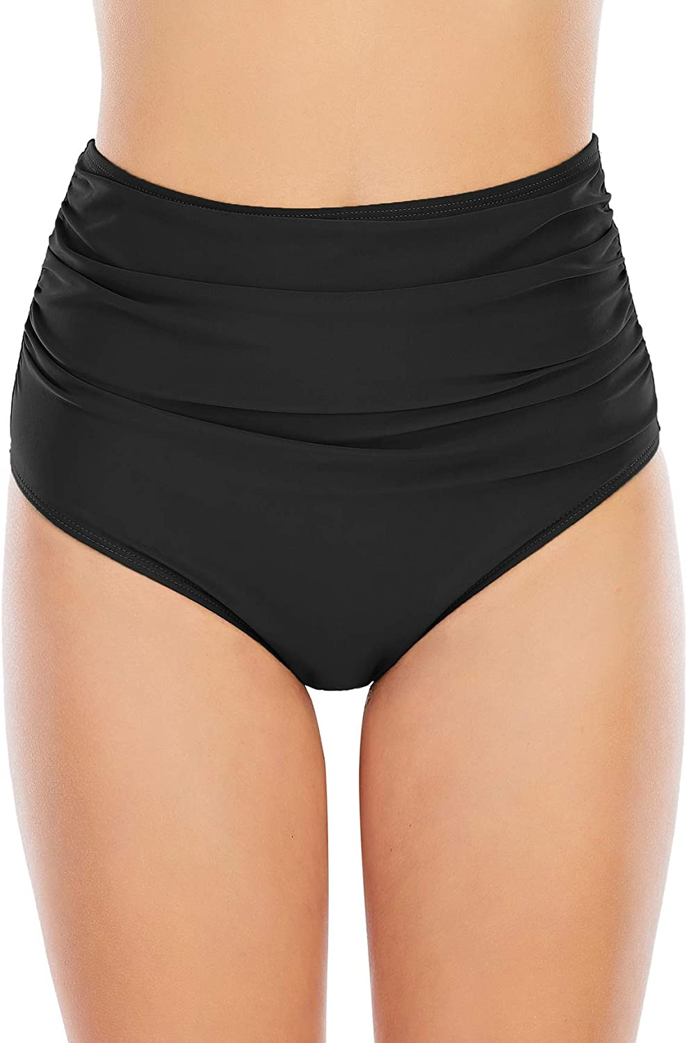 American Trends High Waisted Bikini Bottoms Ruched Tummy Control Swimsuits Bottoms Sexy Swim Bottom Bathing Suits for Women