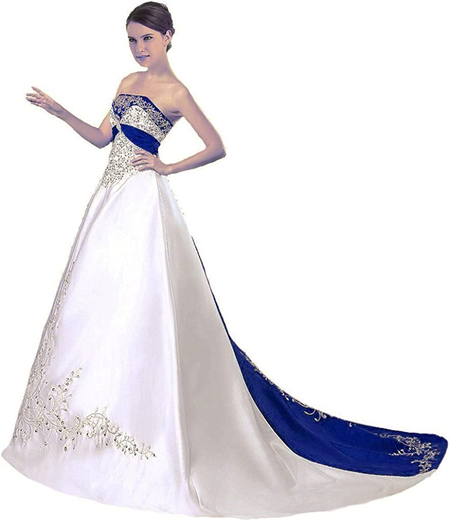 Snowskite Women's Brand new Strapless Satin New Orleans Mall Embroidery Wedding Brida Dress