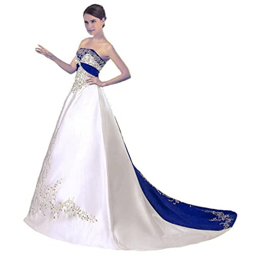 0bdb9b0d58 Snowskite Women s Strapless Satin Embroidery Wedding Dress Bridal Gown