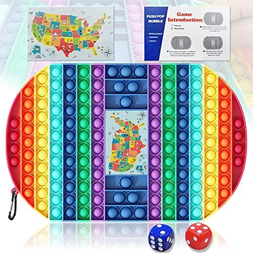 Giociiol Pop Game Board, Big Pop Game Fidget Toy with Dice, Rainbow Big Game Board Fidget Sensory Toys, Colorful Fidget Toy Pop Game Board, Help Kids Adults with Anxiety & ADD