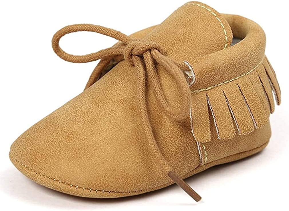Infant Toddler Baby Soft Sole Bowknots Moccasin Girls Loafers Shoes Infant Sneakers Suede Leather Soft Shoes First Walker House Shoes (A01-Gold