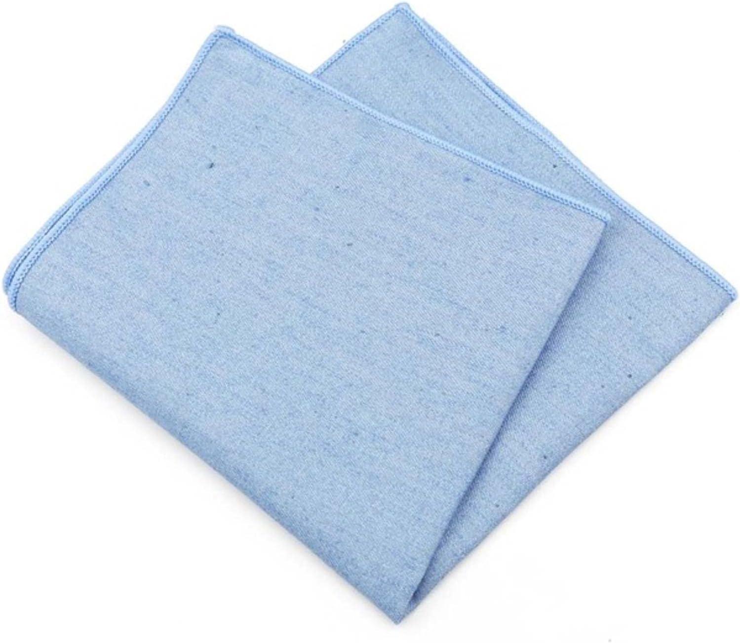 HJJACS Solid Denim Cotton Handkerchiefs Woven White Black Pocket Square Mens Casual Square Pockets Handkerchief Towels