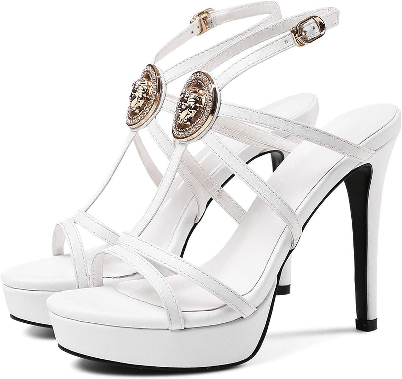 GO-SAMSARA heels Genuine Leather Sandalias Casual Basic Buckle Sandals Women LY749