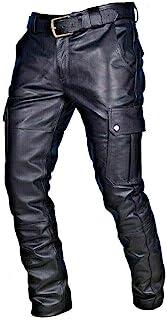 keepmore Pantaloni da Uomo in Pelle con Tasche Cargo Pantaloni da Lavoro Pantaloni da Motociclista in Pelle