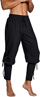 Fueri Mens Medieval Trousers Ankle Banded Pirate Pants Lace Up Gothic Pants Viking Navigator Renaissance Cosplay LARP