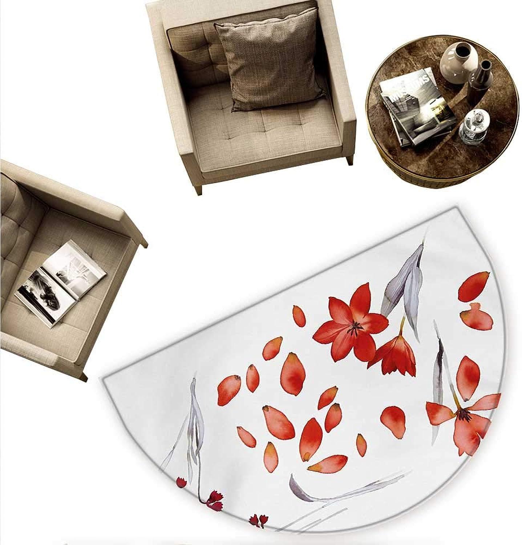 Floral Semicircle Doormat Autumn Flowers and Leaves Petals Illustration in Watercolors Painting Artwork Halfmoon doormats H 63  xD 94.5  Red Purplegrey