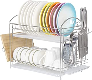 NEX 304 Stainless Steel 2 Tier Kitchen Dish Drainer Rack with Drainboard Tray